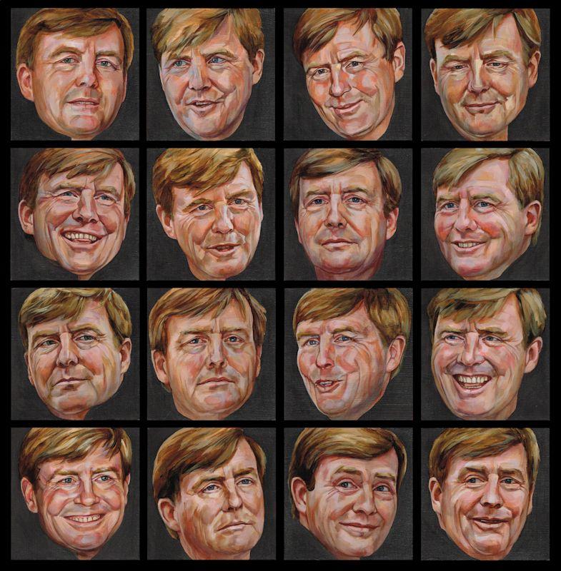 16 geschilderde portretten van Willem-Alexander