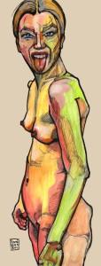 Hoekigheid en contourlijnen als van Egon Schiele