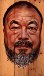 Portret van Ai Weiwei op wijnkistje