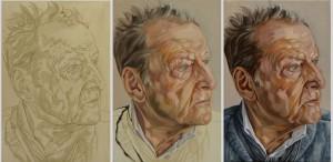 Drie fasen van het portret van Lucian Freud