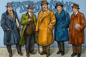 Groepsportret van de Italiaanse futuristen uit 1912