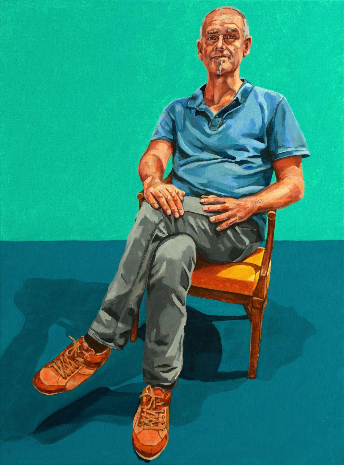 Zelfportret geëinspireerd op David Hockney