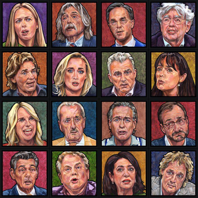 16 portretjes van talkshow-hosts en -gasten