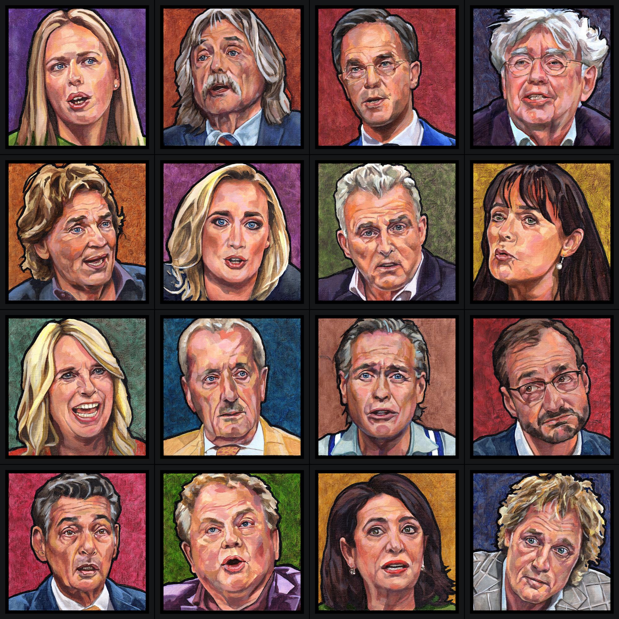 16 portretten van talkshow-hosts en -gasten